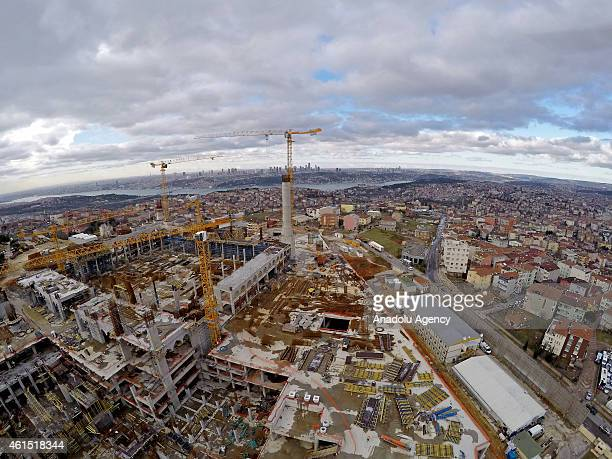 Construction of Camlica Mosque planned to be seen from all over the city continues due to bad weather conditions in Istanbul Turkey on January 13...