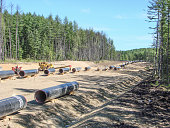 Construction of the gas pipeline on the ground. Transportation of energy carriers.