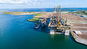 Construction of Oil Rig in Texas Gulf Coast  aerial drone view of Deep Sea Off Shore Oil Rig used for Drilling Oil in the Gulf of Mexico , the Same type of Oil rig that caused the oil spill of Deep Se