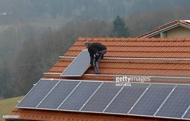Construction of Solar Panels on tiled roof Germany Europe