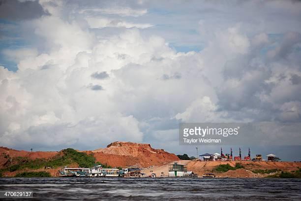 Construction of the Belo Monte coffer dam on the Xingu River near Altamira Brazil