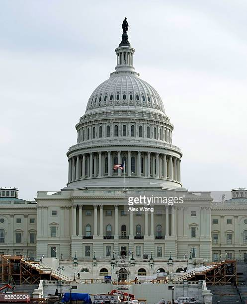 Construction of the inaugural stand continue in front of the US Capitol November 24 2008 in Washington DC As many as five million people are expected...