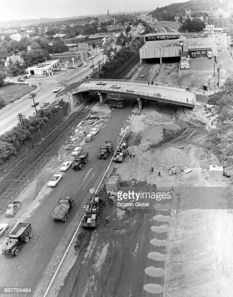 Construction of the Massachusetts Turnpike toll road in West Newton at Star Market Aug 18 1964 One of two places from Newton and Allston to be...