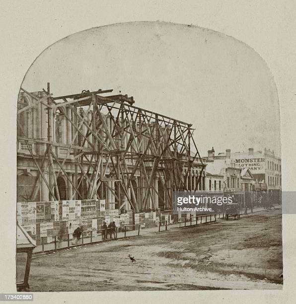 Construction of the Melbourne General Post Office on the corner of Elizabeth and Bourke Street in Melbourne Australia circa 1860