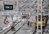 Construction of the new highspeed AVE rail line runs parallel to the local commuter tracks in Barcelona 22 October 2007 Up to 160000 commuters in...