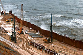 construction of the promenade at sea, strengthening the sea coastline, special equipment on the beach
