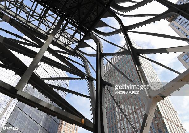 Construction of The Shed New York's new center for artistic invention continues on May 24 2017 in New York City The facility is expected to open in...
