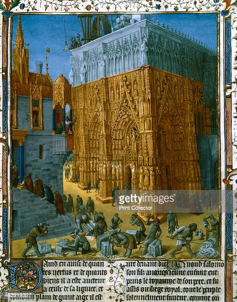 Construction of the Temple at Jerusalem by King Solomon 15th century Solomon directs proceedings from a balcony From Les antiquities Judaiques by...