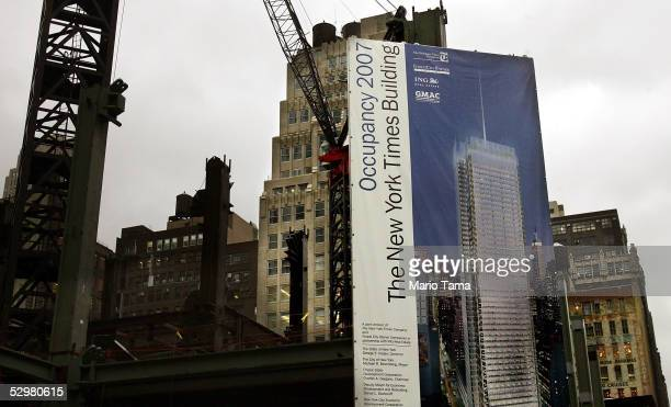 Construction on the new New York Times building is seen May 25 2005 in New York City The New York Times Co is cutting 190 jobs representing about 15...