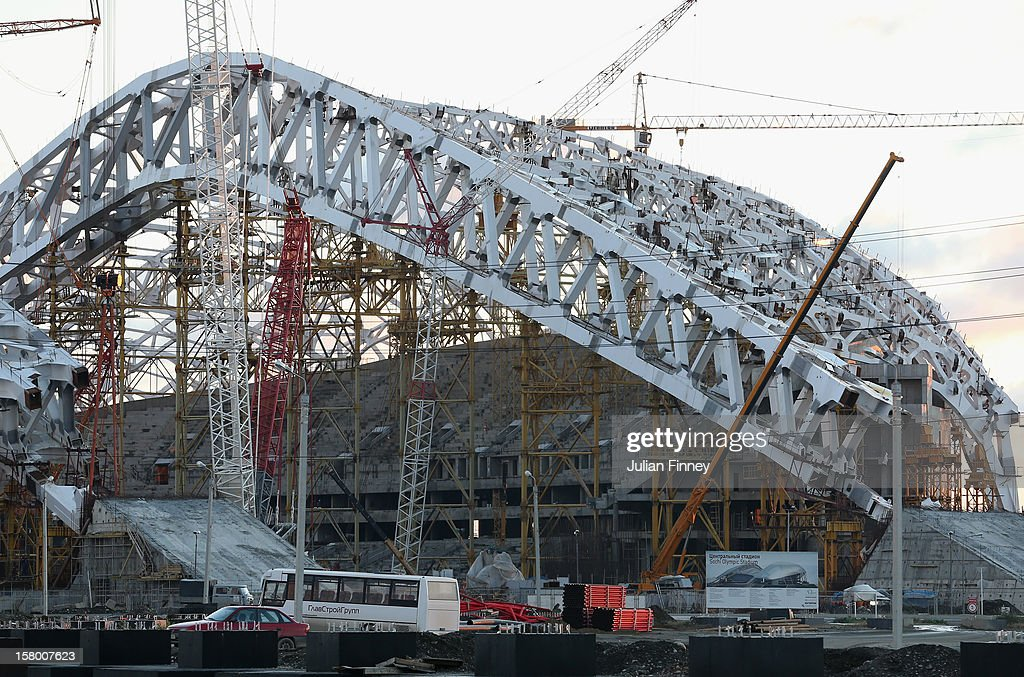 Construction on the olympic stadium continues at the coastal cluster during the Grand Prix of Figure Skating Final 2012 at the Iceberg Skating Palace on December 8, 2012 in Sochi, Russia.