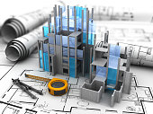 abstract 3d illustration of construction site over blueprints background