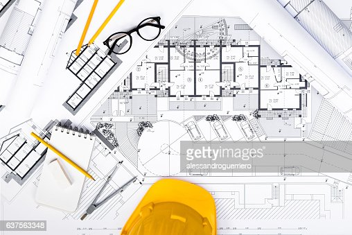 Construction plans with Tablet, drawing and working Tools on blu : Stock-Foto