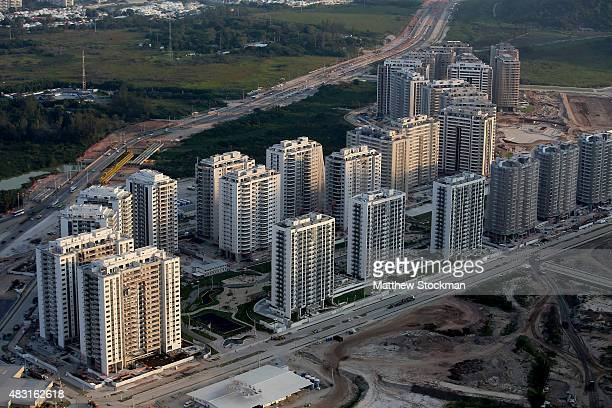 Construction progress takes place at the Ilha Pura housing complex the future site of the Athletes' Village in the Barra da Tijuca neighborhood with...