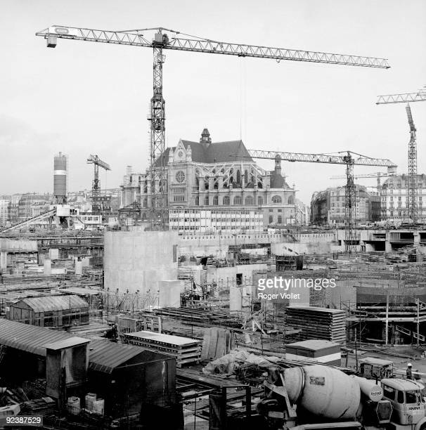 Construction site at the Halles Paris February 1977