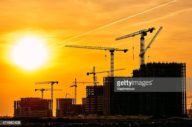 Construction site crane at dusk crane