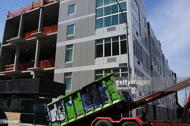 A construction site for new apartments is viewed near the waterfront in the rapidly developing neighborhood of Williamsburg on April 4 2013 in the...