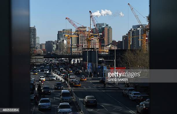 A construction site is seen in Beijing on December 16 2014 Foreign investment into China accelerated in November government data showed December 16...
