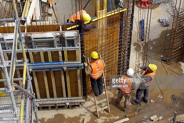 construction site of a commercial building in downtown Bonn Reinforcement work on the foundation
