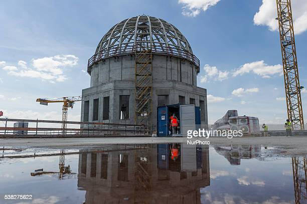 Construction site of Berlin's City Palace view on the main portal in Berlin Germany on 3 June 2016