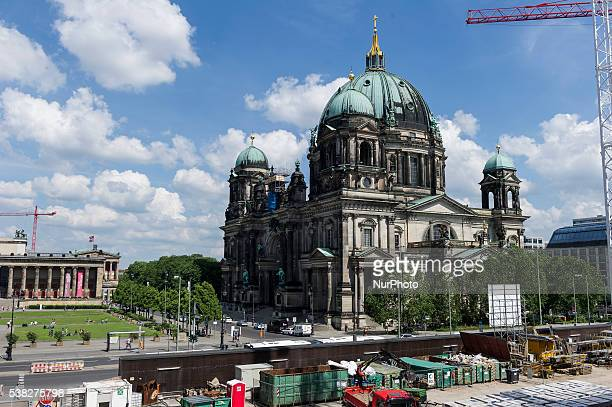 Construction site of Berlin's City Palace with Berlin Dom as seen in Berlin Germany on 3 June 2016