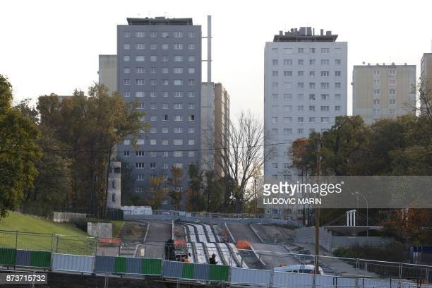 A construction site of public transportation is pictured on November 13 in ClichysousBois northern Paris / AFP PHOTO / LUDOVIC MARIN