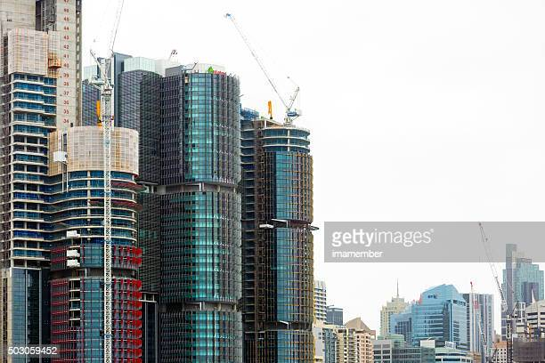 Construction site of skyscrapers in Barangaroo in Sydney, copy space