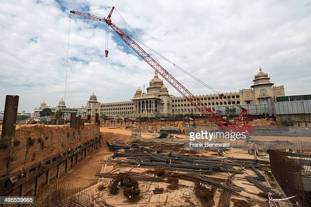 Construction site of the future Metro in front of the Vidhana Soudha the seat of the state legislature of Karnataka
