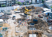 Construction site outdoor with crane People working top view miniature
