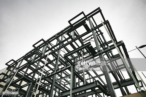 Construction Site Steel Frame : Stock Photo