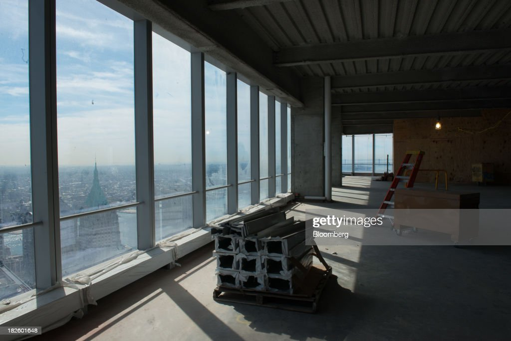 Construction supplies sit on the 71st floor of the 4 World Trade Center building, managed by Silverstein Properties Inc., in New York, U.S., on Wednesday, Sept. 25, 2013. Real estate developer Larry Silverstein cant recoup any of the $1.2 billion recovered by World Trade Center insurers in settlements with airlines and airport security companies over the Sept. 11, 2001, terrorist attack that destroyed the office complex, a judge ruled. Photographer: Craig Warga/Bloomberg via Getty Images