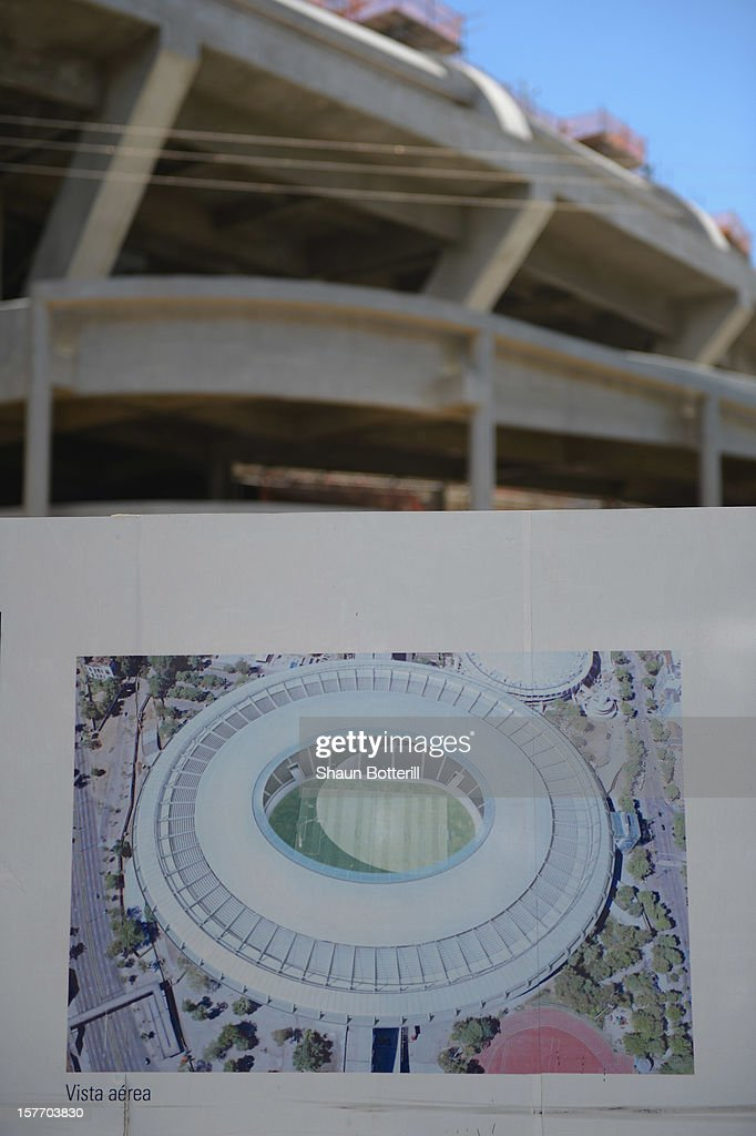 Construction takes place at the Maracana Stadium, venue for the FIFA 2014 World Cup Final on December 5, 2012 in Rio de Janeiro, Brazil.