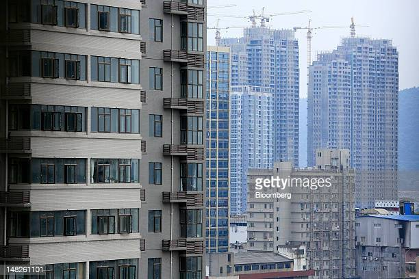 Construction takes place on highrise buildings in Changsha Hunan Province China on Thursday July 12 2012 Gross domestic product expanded 76 percent...
