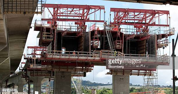 Construction takes place on the building site of the SH20 Manukau Harbour Crossing bridge a joint initiative between Fletcher Building Ltd the NZ...