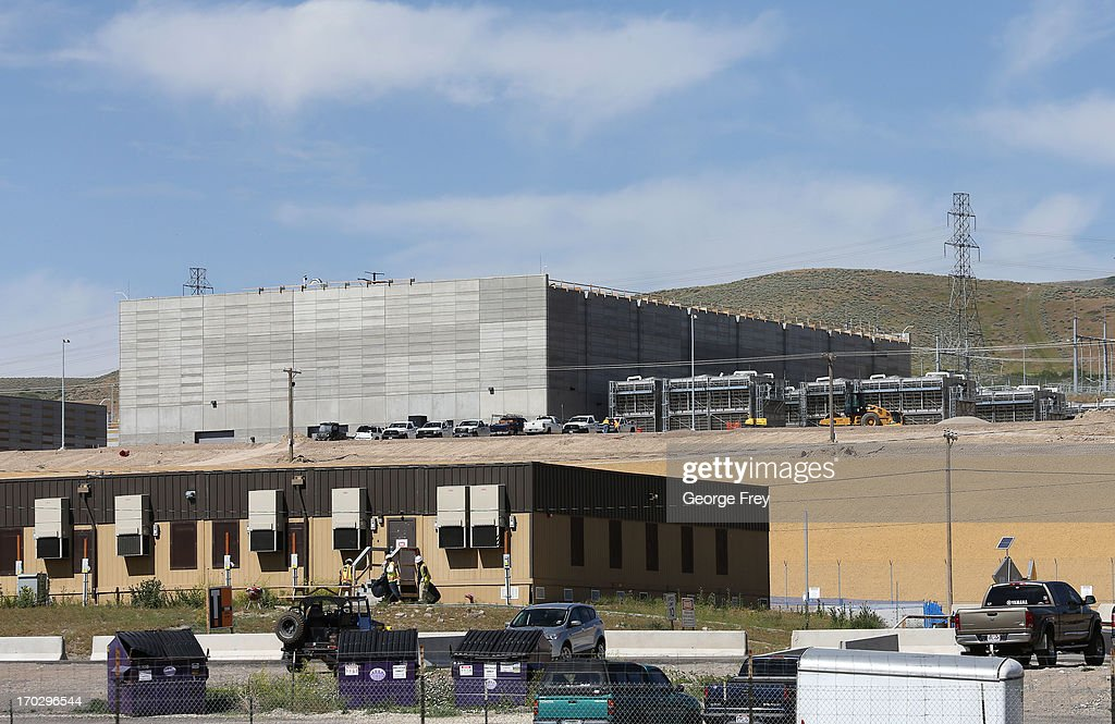Construction trailers sit in front of the new National Security Agency data center June 10 2013 in Bluffdale Utah The center a large data farm that...