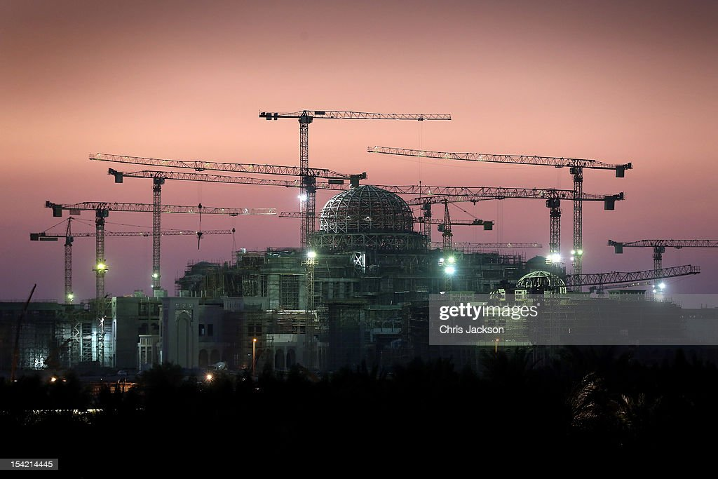 Construction work at a new Palace next to Emirates Palace Hotel goes on into the night during day six of the Abu Dhabi Film Festival 2012 at Emirates Palace on October 16, 2012 in Abu Dhabi, United Arab Emirates.