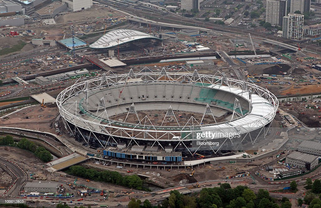 Construction work at the Olympic Stadium and the site of the 2012 Olympic Park are seen in London, U.K., on Wednesday, May 19, 2010. Job vacancies at London financial-services companies fell 12 percent in April as Britain headed into elections that resulted in a coalition government and the European Union struggled to cut deficits. Photographer: Chris Ratcliffe/Bloomberg via Getty Images