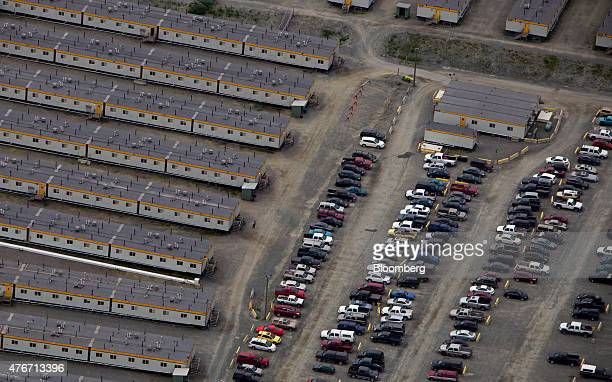 Construction work camps stand at the Rio Tinto Alcan Inc smelter in this aerial photograph taken above Kitimat British Columbia Canada on Friday June...