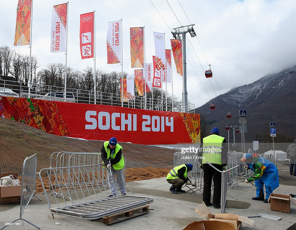 Construction work continues at the RusSki Gorki Ski Jumping venue ahead of the Sochi 2014 Winter Olympics on February 1, 2014 in Rosa Khutor, Sochi.