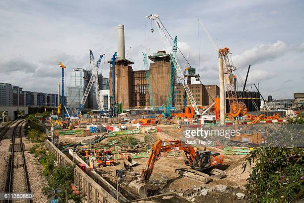 Construction work continues on Battersea Power Station on September 29 2016 in London England Technology company Apple has announced that Battersea...