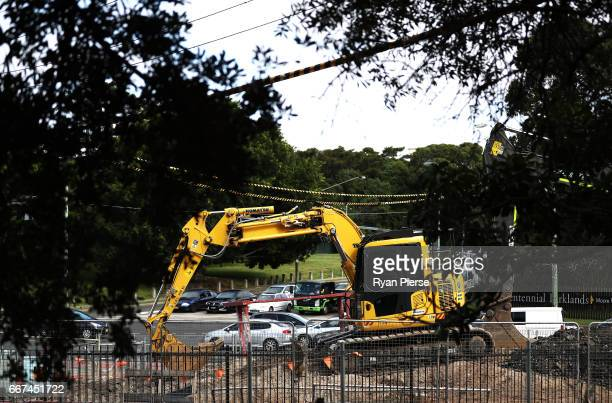 Construction work continues on the Light Rail in Moore Park on April 12 2017 in Sydney Australia The new light rail network for the CBD and South...