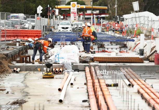 Construction work continues on the Light Rail in Randwick on April 12 2017 in Sydney Australia The new light rail network for the CBD and South East...
