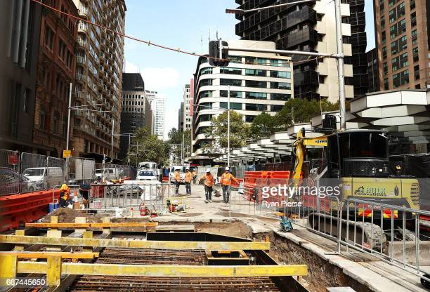 Construction work continues on the Light Rail on George Street on April 12 2017 in Sydney Australia The new light rail network for the CBD and South...