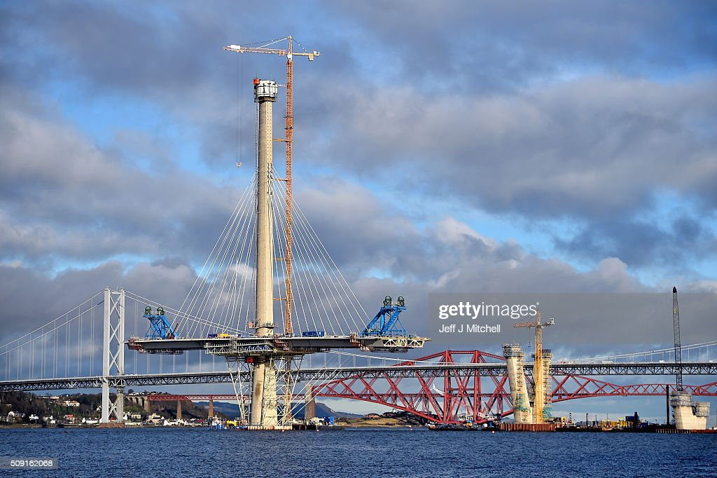 Construction work continues on the new Forth crossing over the Firth of Forth on February 9, 2016 in South Queensferry, Scotland. Engineers working on the project have said that they hope to have the bridge open to traffic by the end of 2016 with around 1,300 people working to finish the new £1.4bn crossing in time.