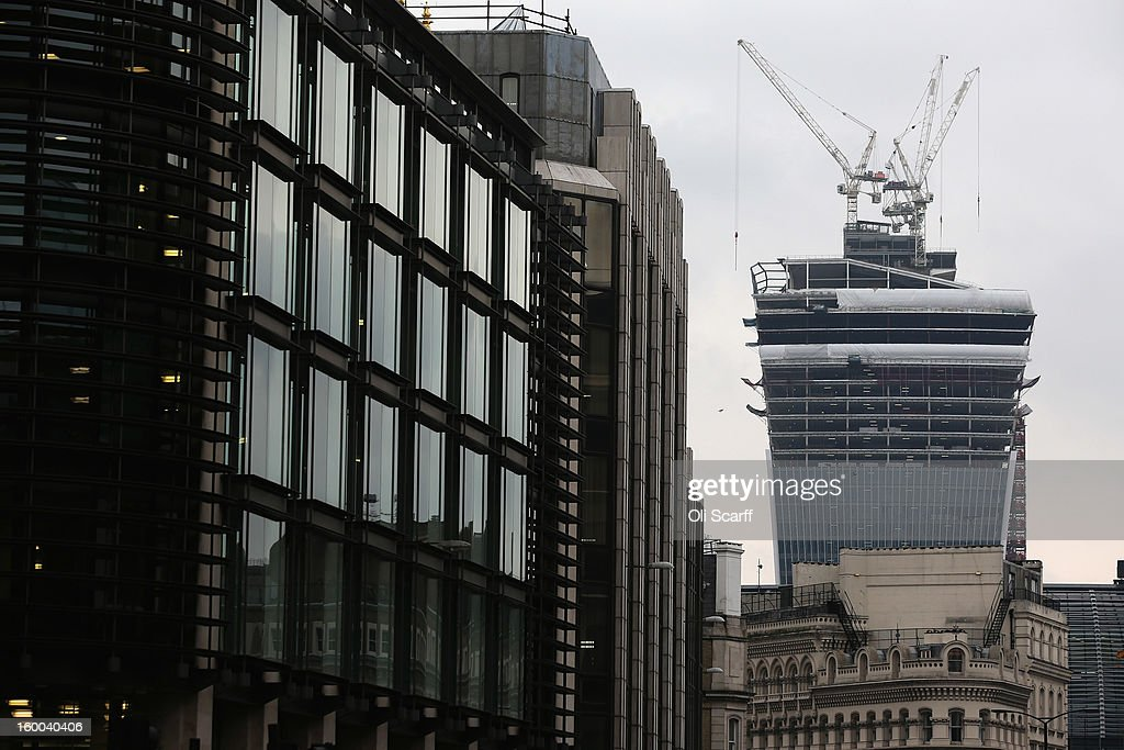 Construction work continues on the skyscraper at 20 Fenchurch Street, nicknamed the 'Walkie-Talkie' due to its unusual shape, in the City of London on January 25, 2013 in London, England.