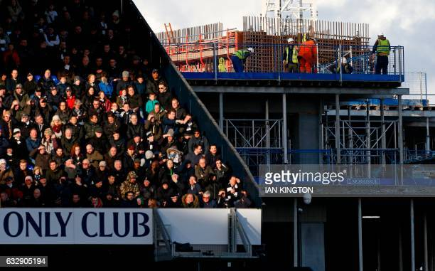Construction work continues on Tottenham's new stadium during the English FA Cup fourth round football match between Tottenham Hotspur and Wycombe...