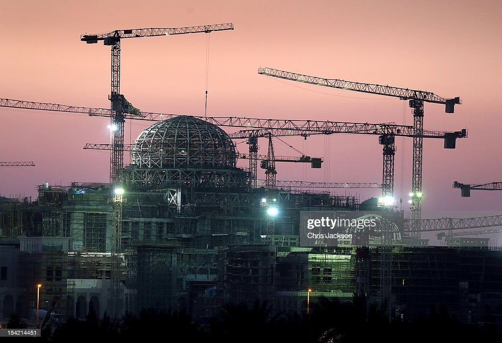 Construction work goes on into the night at a new Palace next to Emirates Palace Hotel on day six of the Abu Dhabi Film Festival 2012 at Emirates Palace on October 16, 2012 in Abu Dhabi, United Arab Emirates.