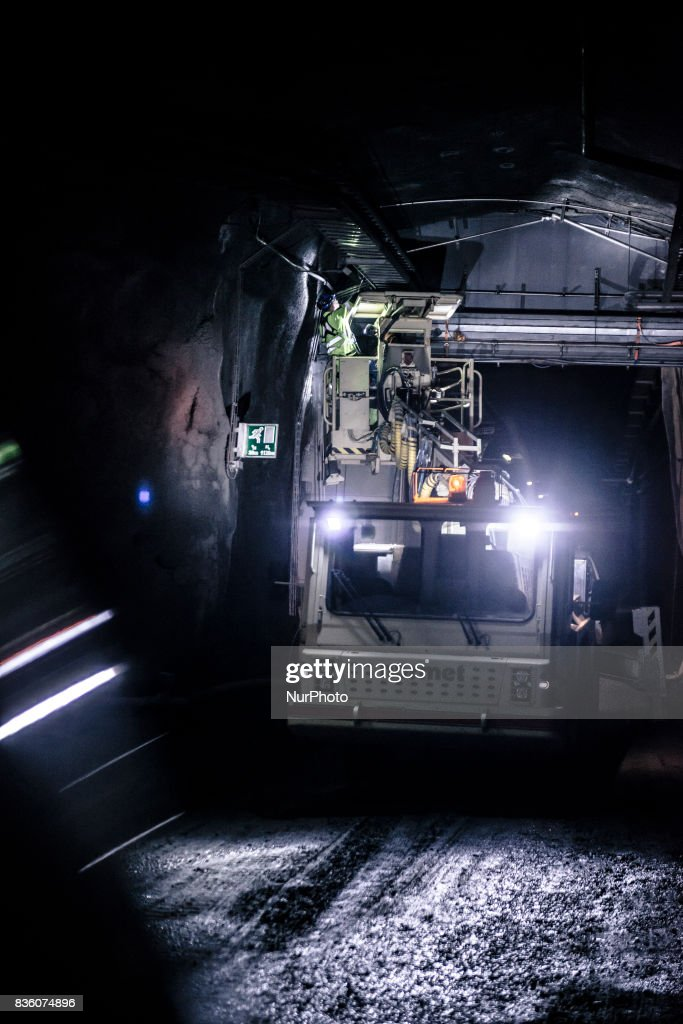 Construction work in Posiva's spent nuclear fuel repository ONKALO in Olkiluoto, Eurajoki, Finland on 17 August 2017.