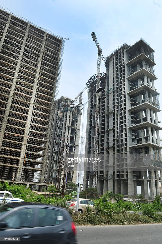 A construction work of buildings at progress near Science City Crossing on May 28, 2015 in Kolkata, India.