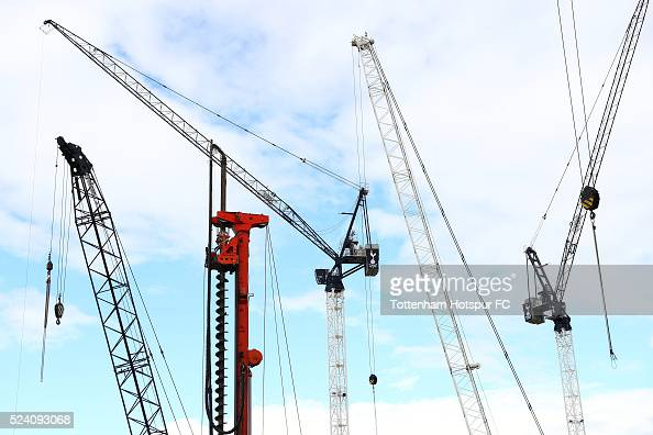 Construction work on the new stadium is seen prior to the Barclays Premier League match between Tottenham Hotspur and West Bromwich Albion at White...