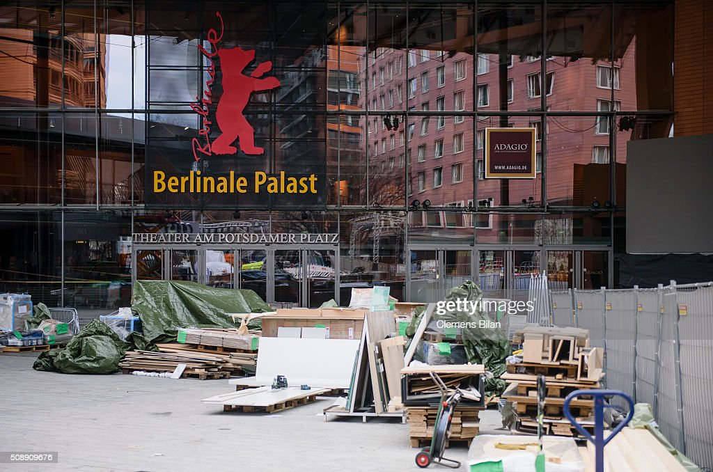 Construction work takes place in front of the Berlinale Palast prior to the 66th Berlinale on February 7, 2016 in Berlin, Germany.
